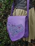 Purple shoulder bag with celtic knot work by MARIEKECREATION