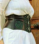 Celtic knotwork on a leather waistbelt by MARIEKECREATION