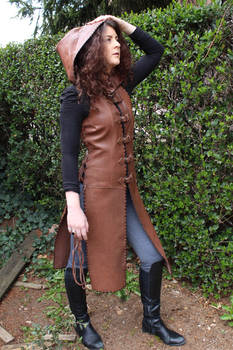 Brown leather tunic