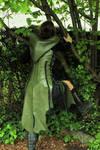 Green women leather tunic by MARIEKECREATION