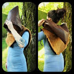 Short brown cape back and front by MARIEKECREATION