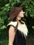 Brown and beige leather cape by MARIEKECREATION