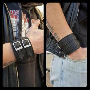Soft black leather cuff