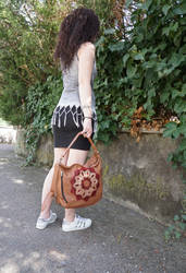 Rosace leather tote by MARIEKECREATION