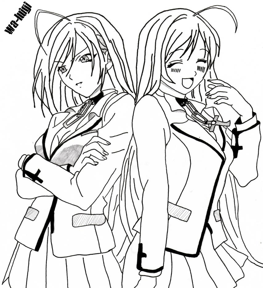 anime rosario vampire moka coloring page sketch sketch coloring page