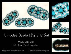 Turquoise Beaded Barrette Set