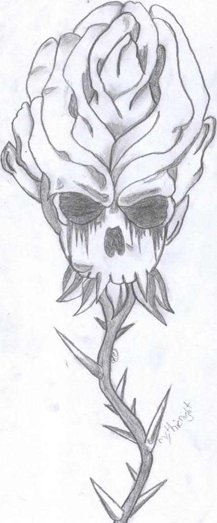 Skull Rose by xTearsInsidex
