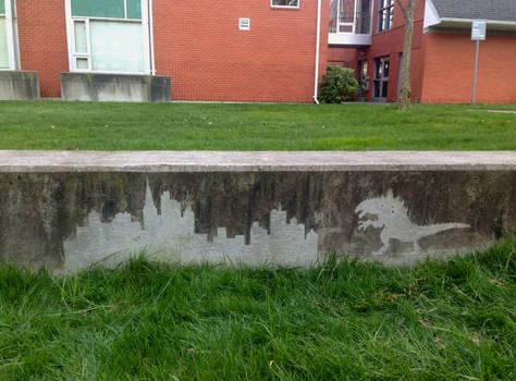 Reverse Graffiti - Godzilla