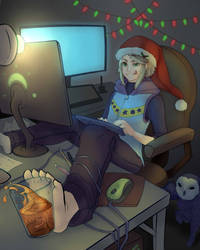Aster Making a Christmas Mess by Aerypear