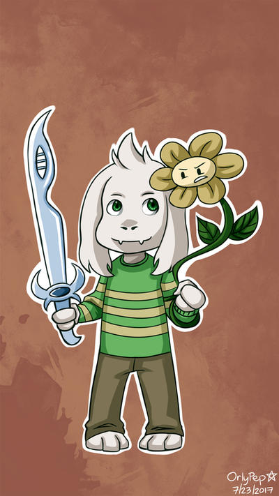 Chibi Asriel and Flowey by OrlyPep
