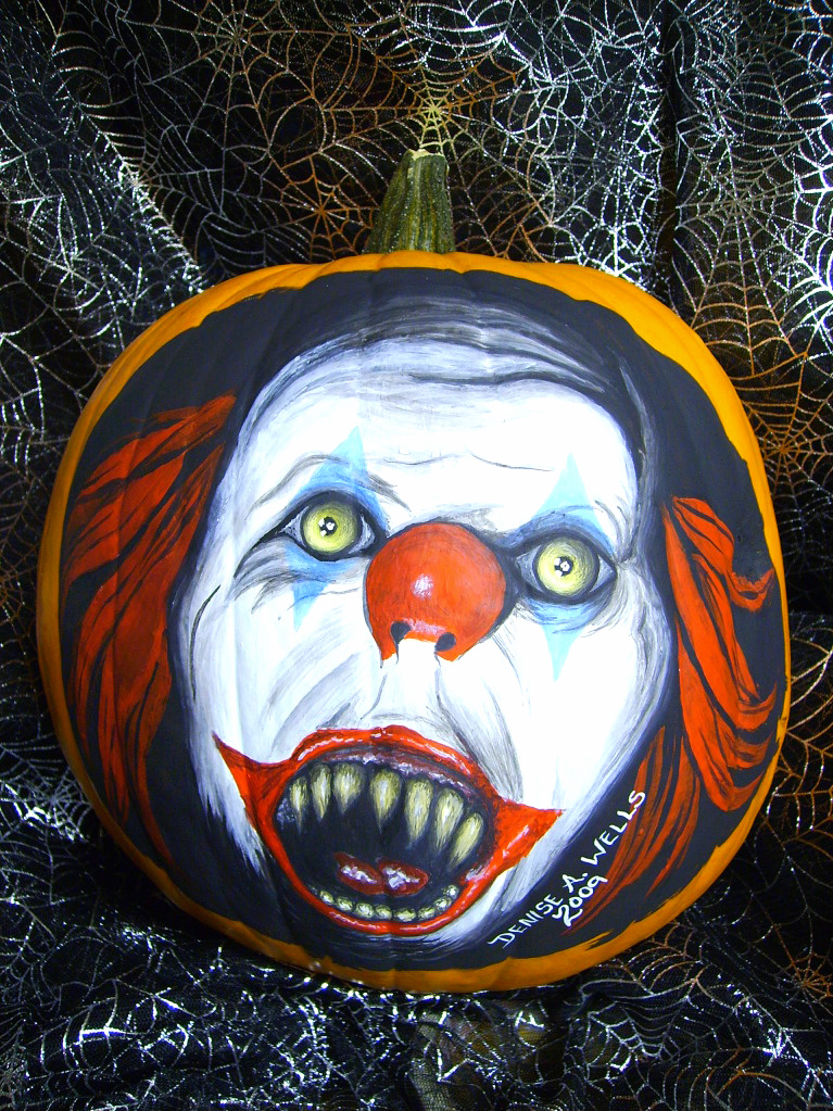 Pennywise the clown by deniseawells on deviantart for Clown pumpkin painting