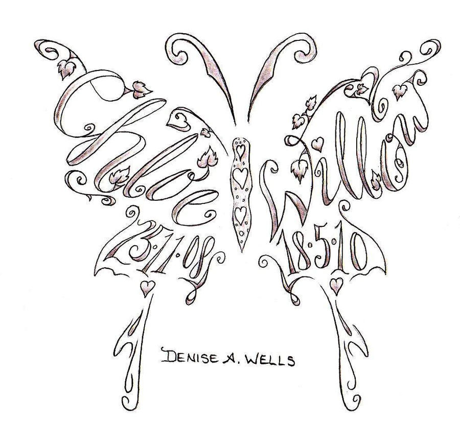 Names Butterfly Shape Tattoo by DeniseAWells on deviantART