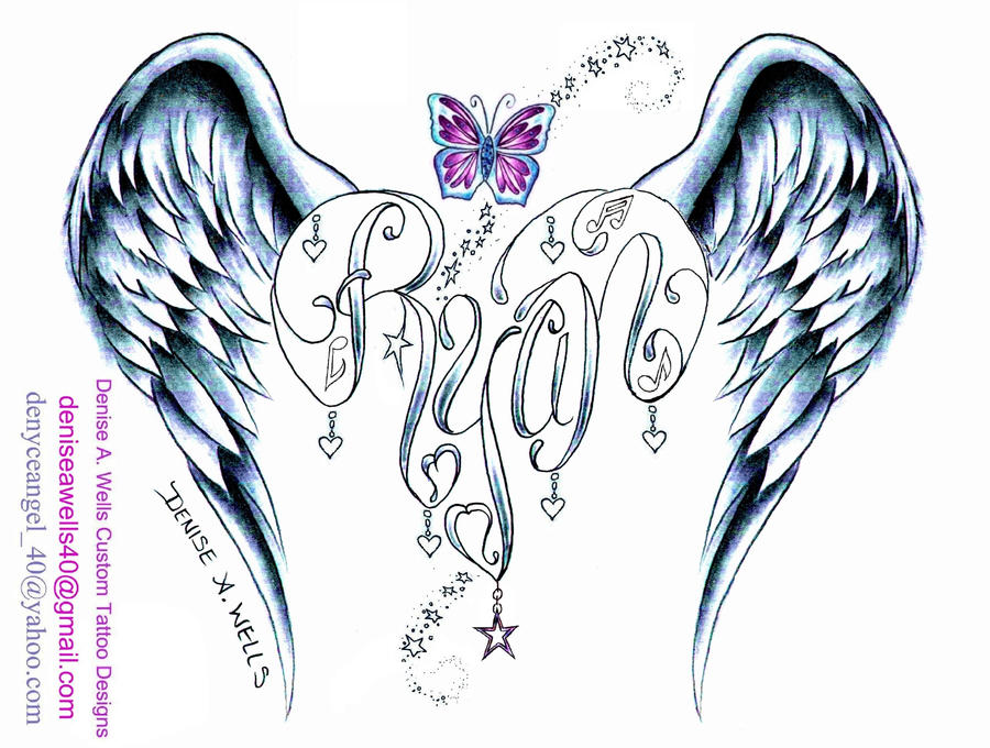 Ryan Angel Wing Heart tattoo design by DeniseAWells
