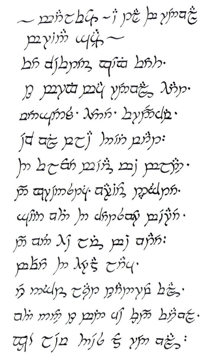 elvish writing translation Convert from english to quenya quenya is one of the many languages spoken by immortal elves jrr tolkien created this fictional elvish language (which uses tengwar writing system) for the novel lord of the rings.