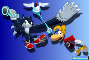 WereSonic and Rayman by DCLeadboot