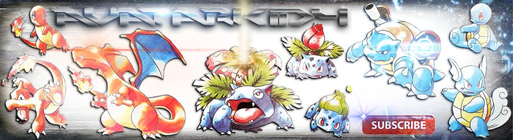 Pokemon YouTube Banner! Base Set Starters by Sasukeslayer