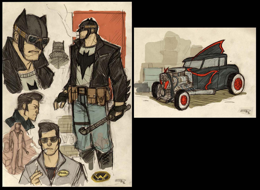 Batman Rockabilly - sketches by DenisM79