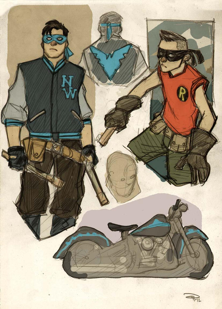 Nightwing and Robin Rockabilly by DenisM79