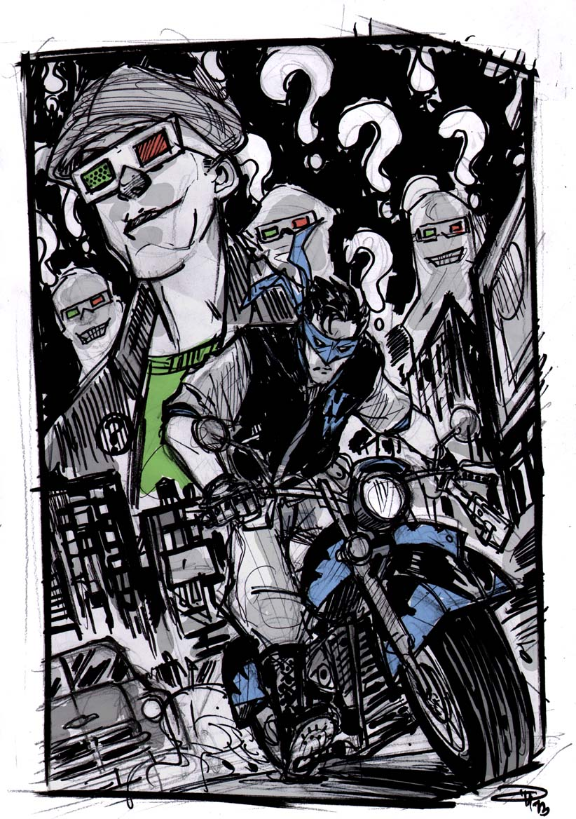Nightwing and The Riddler - Rockabilly Universe by DenisM79
