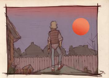 STAR WARS 80s High School - Luke Binary Sunset