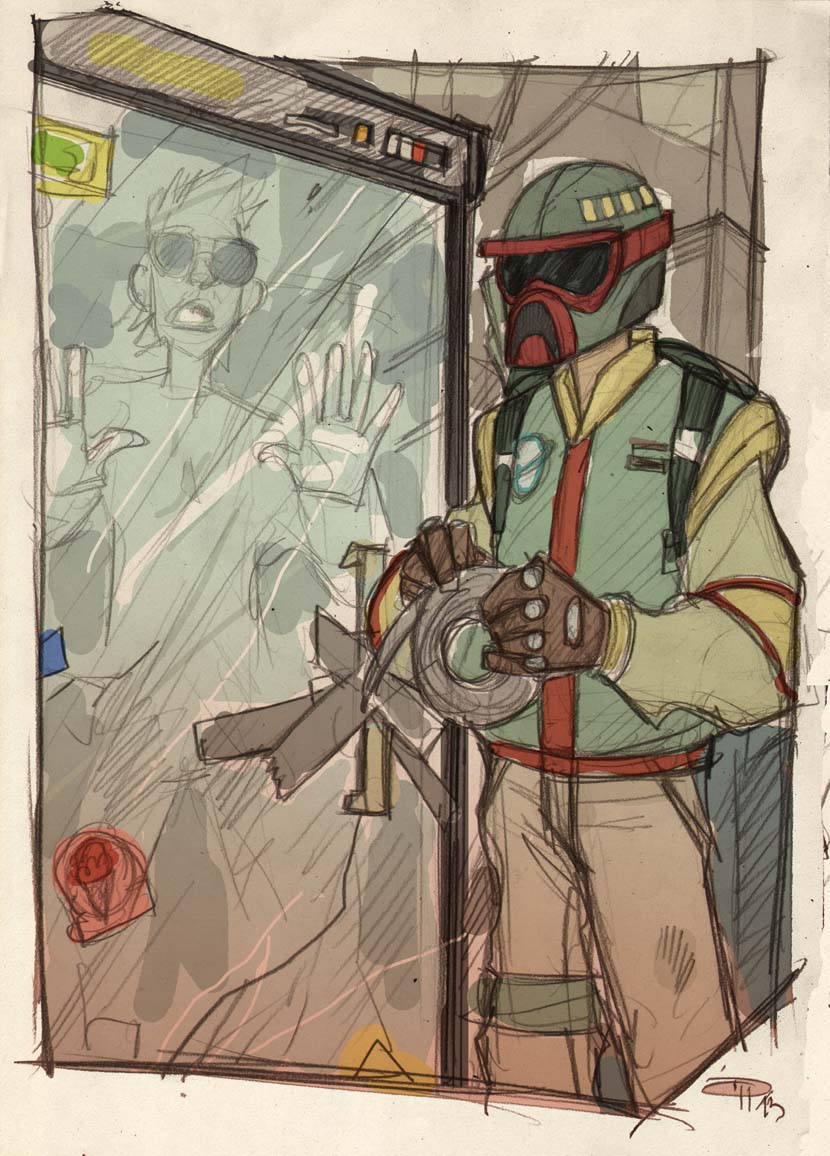 STAR WARS 80's High School - Boba imprisons Han by DenisM79