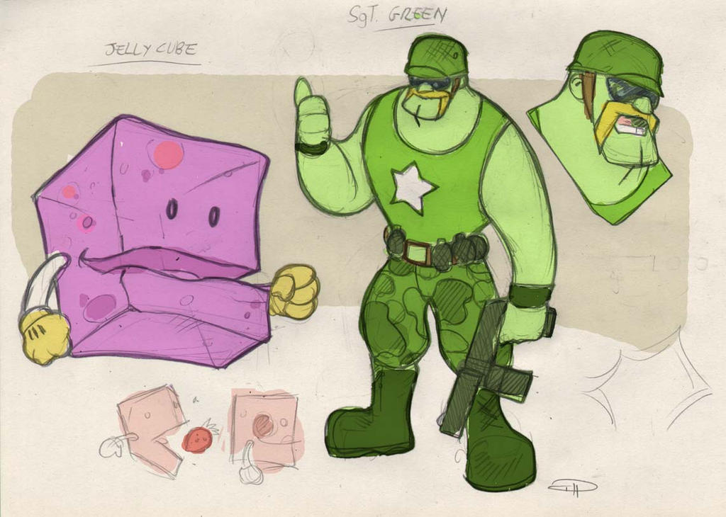 ARCADE BOY - Jelly Cube and Sergeant Green by DenisM79