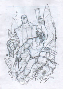 Hellboy and Logan - Commission Layout