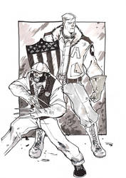 1920s Cap and Wolvie commission by DenisM79