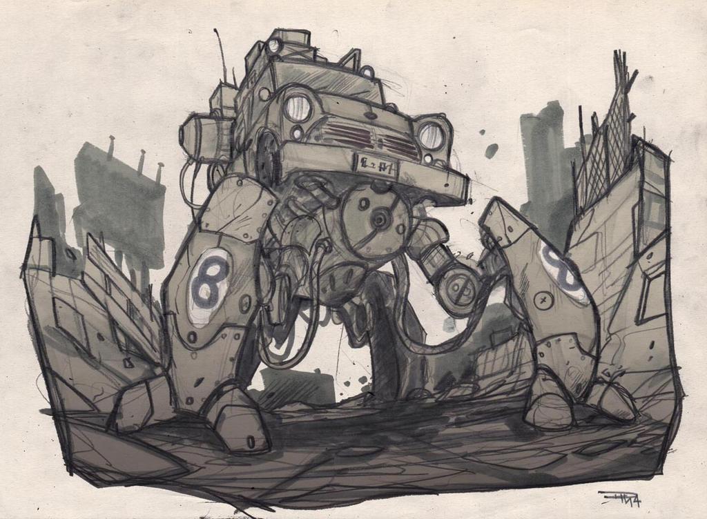 Mecha Mini Car sketch by DenisM79