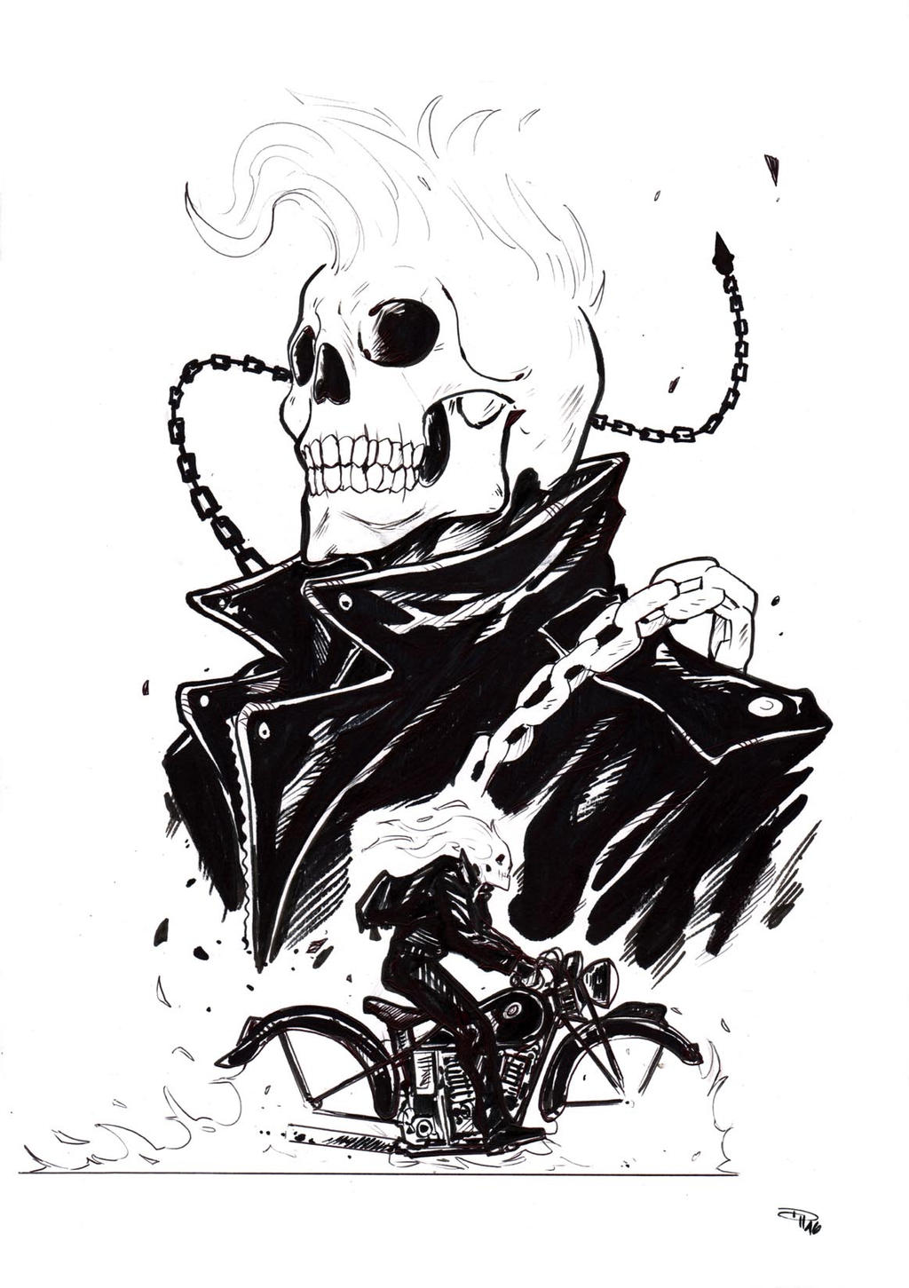 marvel ghost rider coloring pages - rockabilly ghost rider by denism79 on deviantart