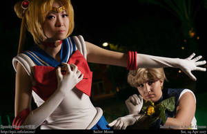 Sailor Moon protecing Sailor Uranus