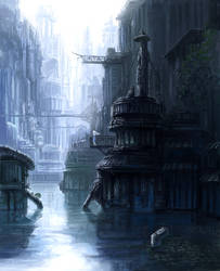 City in surface of the water