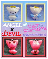Angel and Devil Cat Charms by pookat