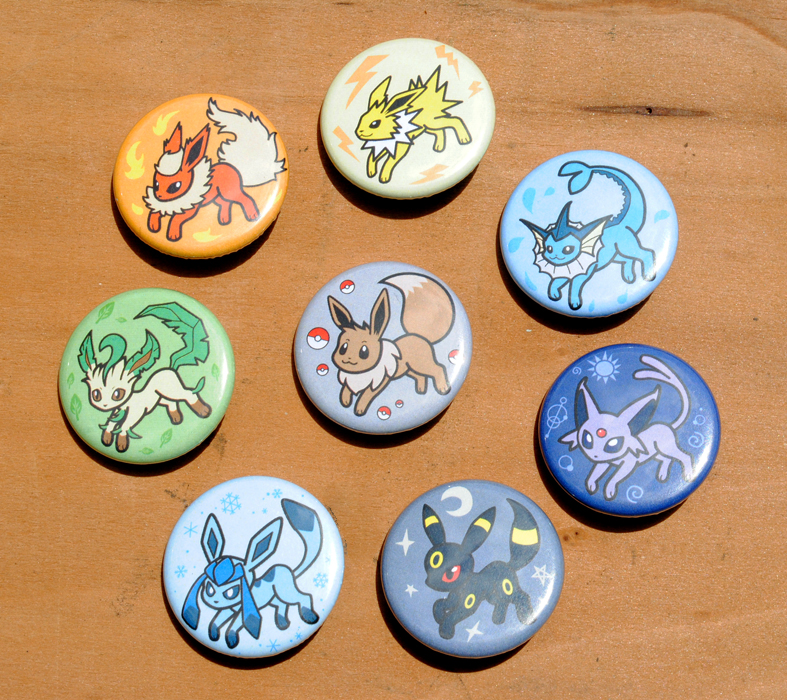 Eeveelution Button Set by pookat