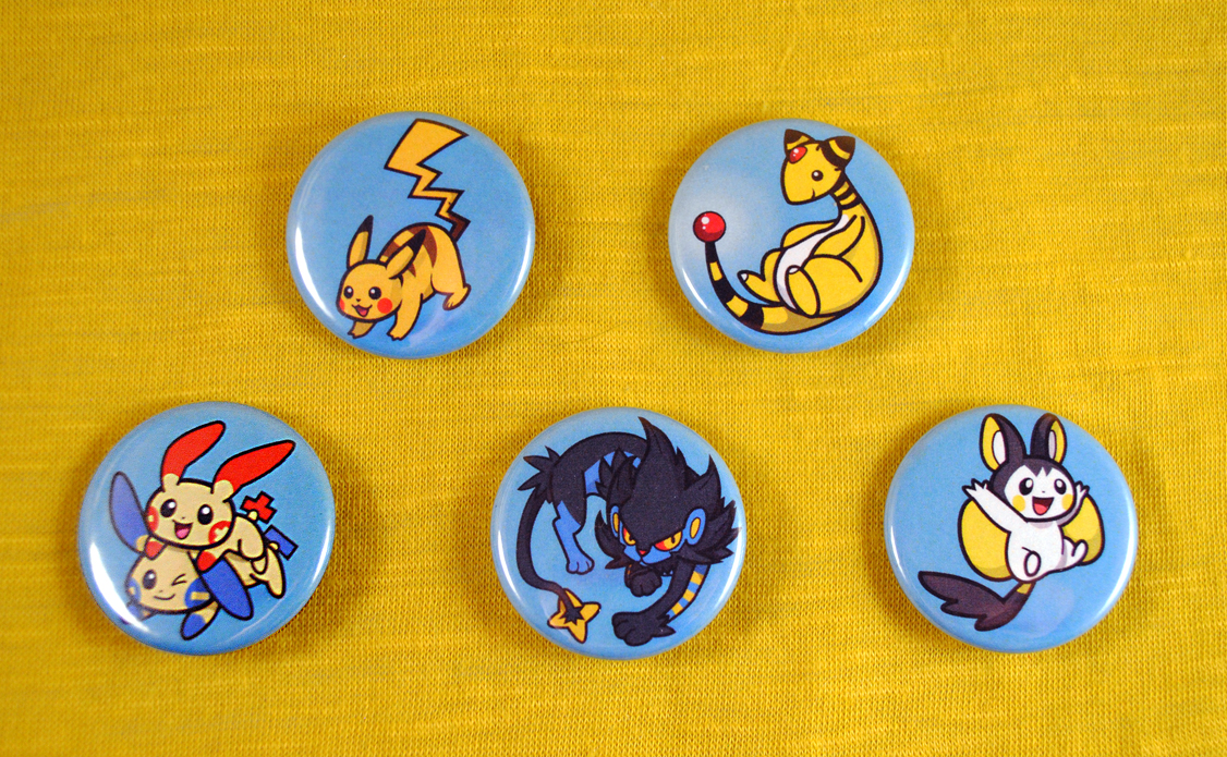 Pokemon Favorite Type Buttons - Electric Type Set by pookat