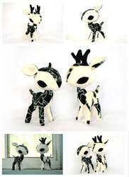 Ivory Gothique Rose Deer Plush