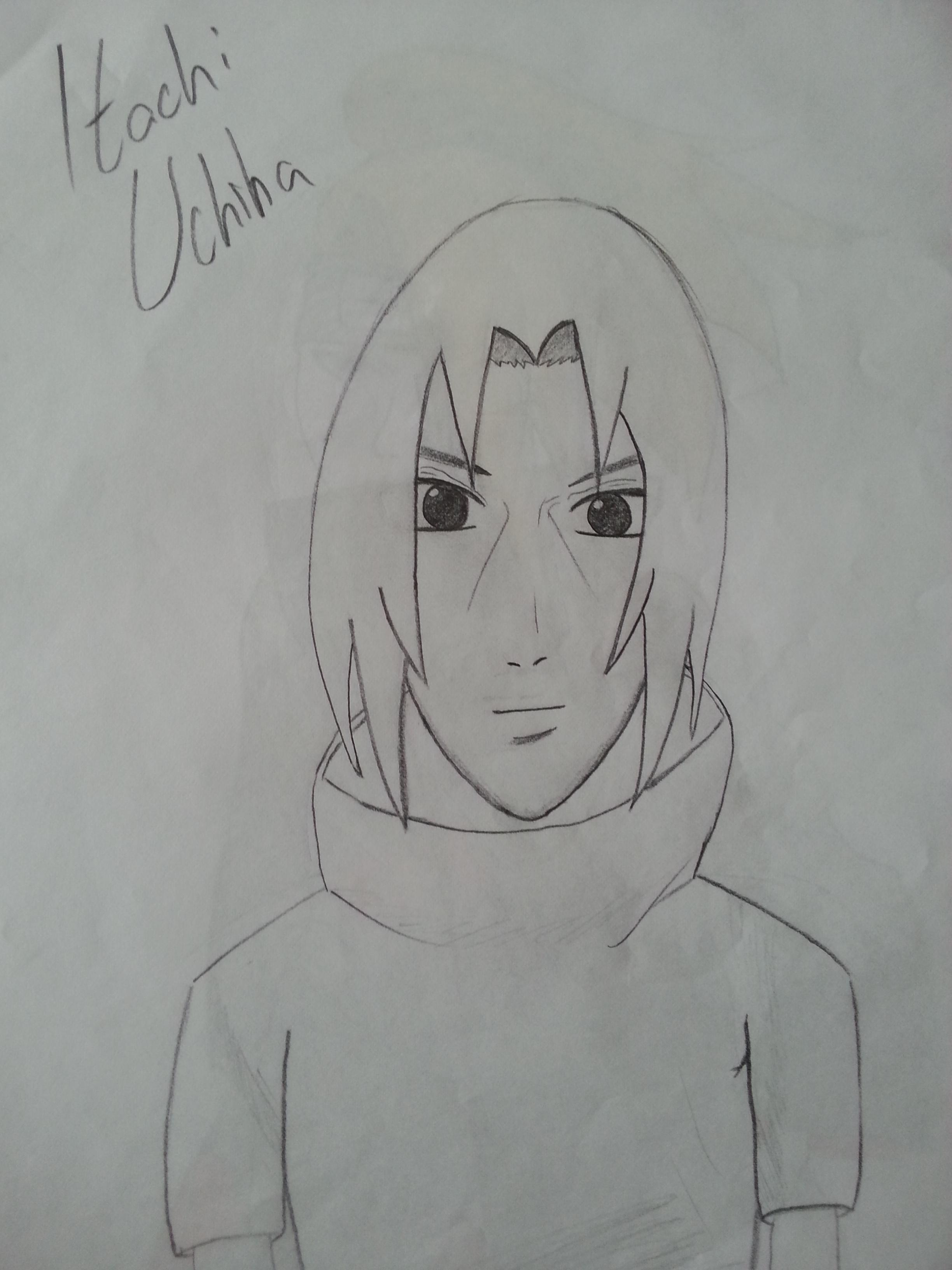 how to draw itachi uchiha face