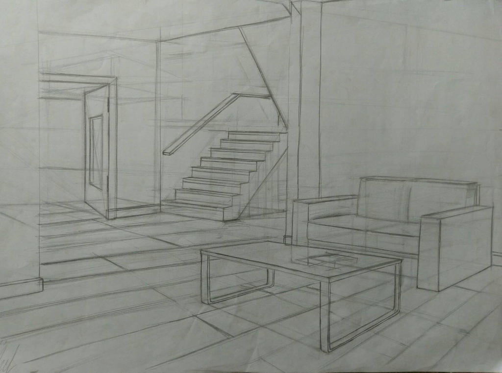 Living room 2 point perspective by mertozel on deviantart - Two point perspective living room ...