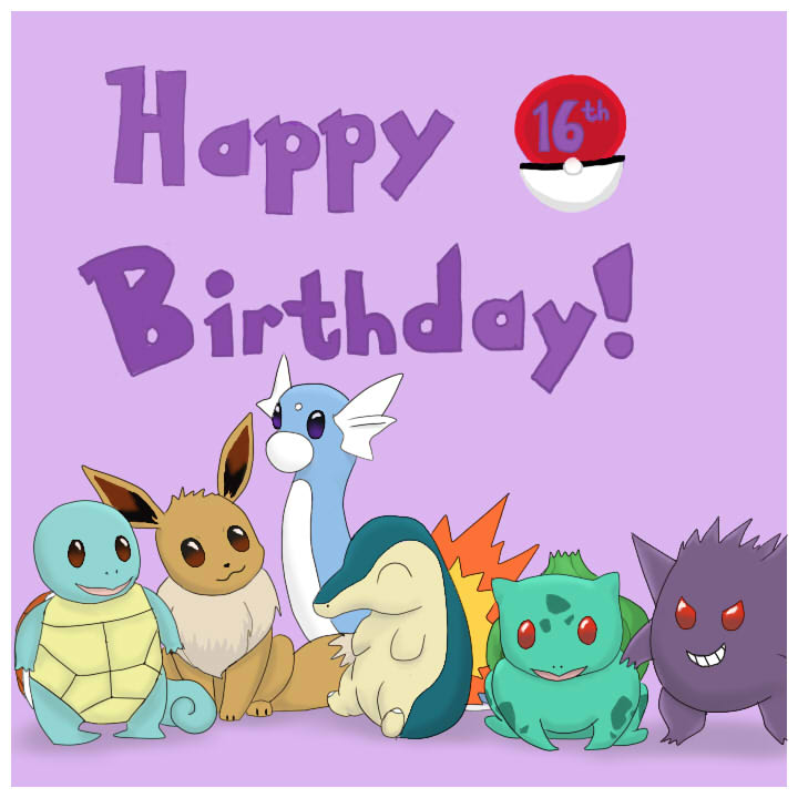 pokemon th birthday card by parrot on deviantart, Birthday card