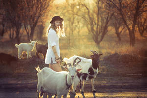 Elena and Goats by RavenaJuly