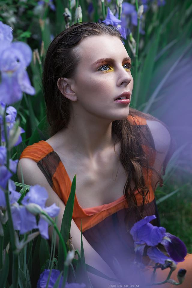 Nadya and Irises by RavenaJuly