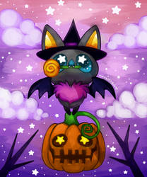 Candy witch pumpkin bat