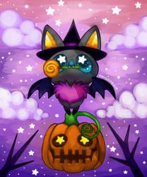 Candy witch pumpkin bat