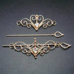 Bronze and Crystal Barrettes