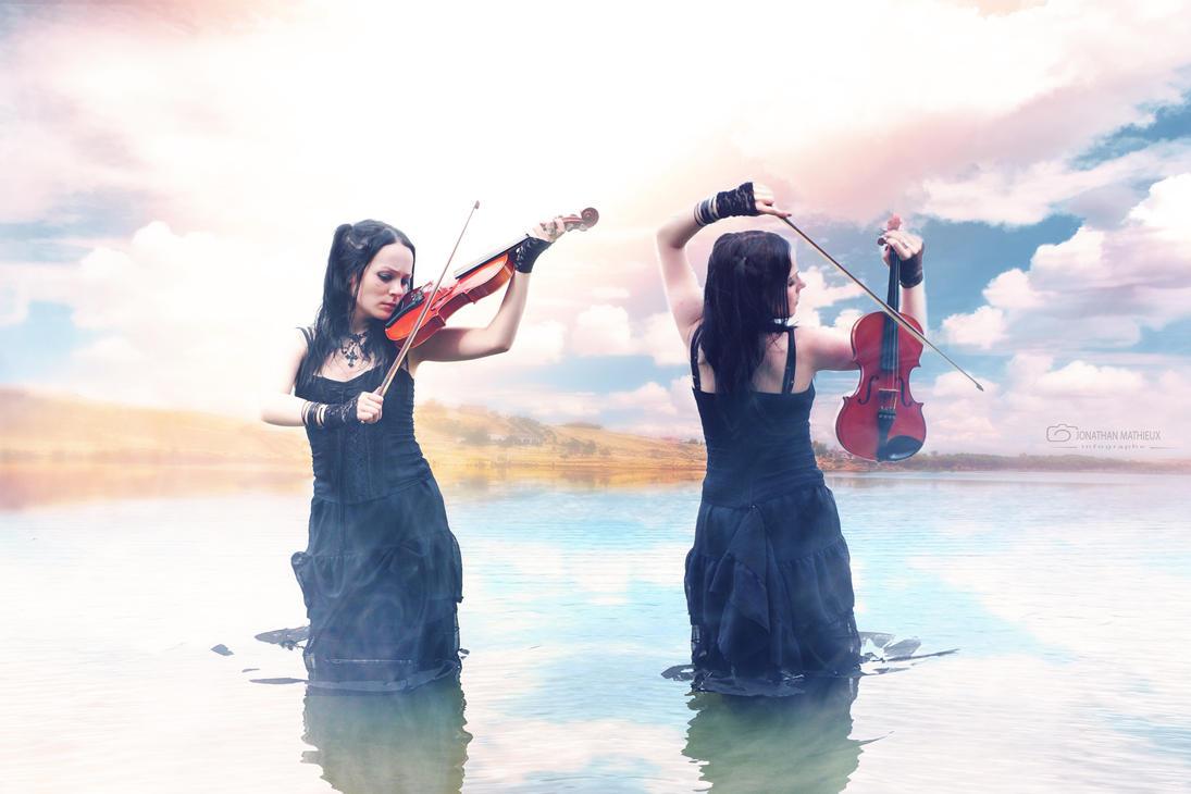 Lake and violin by j-xonegraph