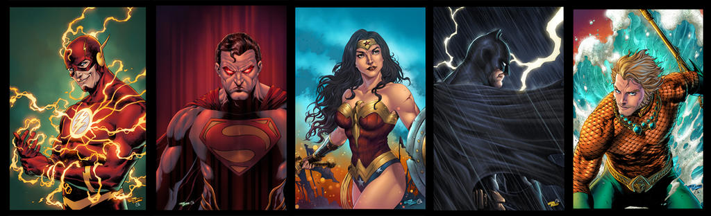 Justice League pin ups for Maze studio