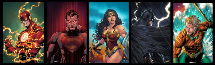 Justice League pin ups for Maze studio by katoti