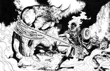Ghostrider vs. Rhino pin up,art: Tirso Llaneta