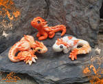 Little polymer clay dragon baby - Orange family