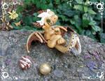 Golden Playful Dragon by AtriaPolymerClay